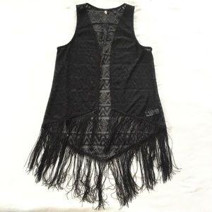 Boho fringe patterned vest NWOT